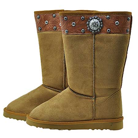 CONCHO-BOOTS--TAN - WHOLESALE RHINESTONE BOOTS