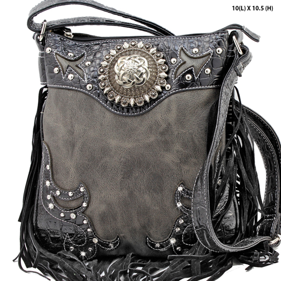 COM-5275-BLACK - WHOLESALE WESTERN FRINGE CROSSBODY BAGS