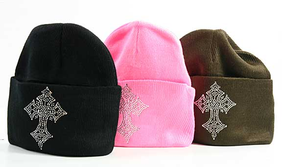 BEAN-CROSS-3-(12PCS) - WHOLESALE RHINESTONED BEANIES/CAPS