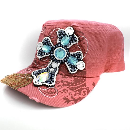 CAD-NEW-B6-CORAL - WHOLESALE RHINESTONE CROSS CADET STYLE CAPS