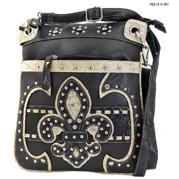 FAA2-470-BLACK - WESTERN CROSS BODY MESSENGER FLEUR DE LIS BAGS