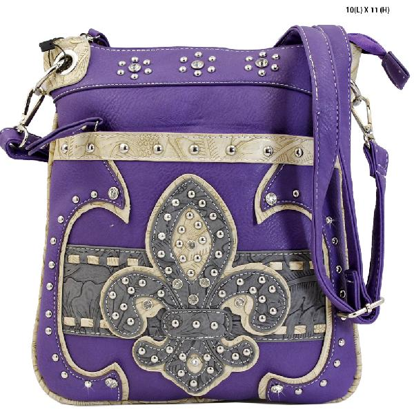FAA2-470-PURPLE - WESTERN CROSS BODY MESSENGER FLEUR DE LIS BAGS