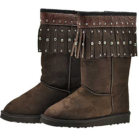 FRINGE--BOOTS-COFFEE - WHOLESALE RHINESTONE BOOTS