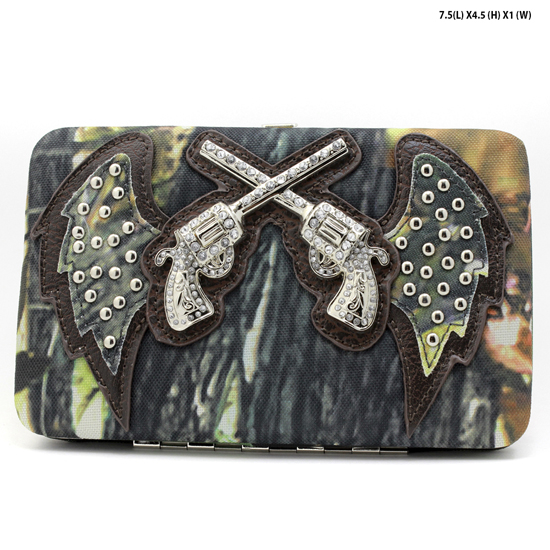 GNS-WINGS-305-BROWN - WHOLESALE WOMENS WESTERN CAMO DOUBLE PISTOL WALLET