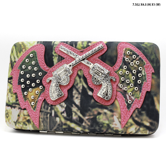 GNS-WINGS-305-HTPK - WHOLESALE WOMENS WESTERN CAMO DOUBLE PISTOL WALLET
