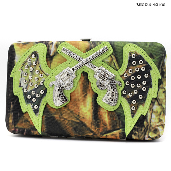 GNS-WINGS-305-GREEN - WHOLESALE WOMENS WESTERN CAMO DOUBLE PISTOL WALLET