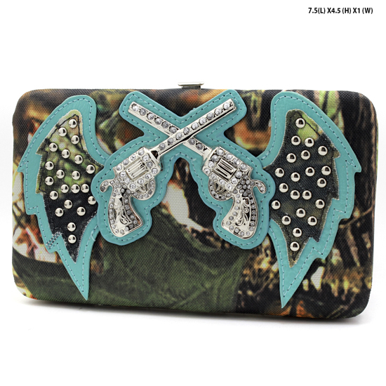 GNS-WINGS-305-BLUE - WHOLESALE WOMENS WESTERN CAMO DOUBLE PISTOL WALLET