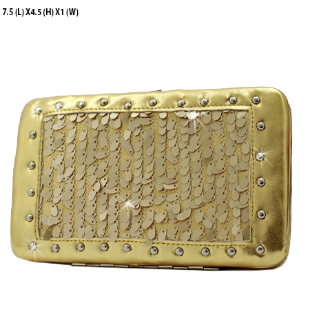 NSQ-2070-GOLD - RHINESTONE CROSS WALLETS