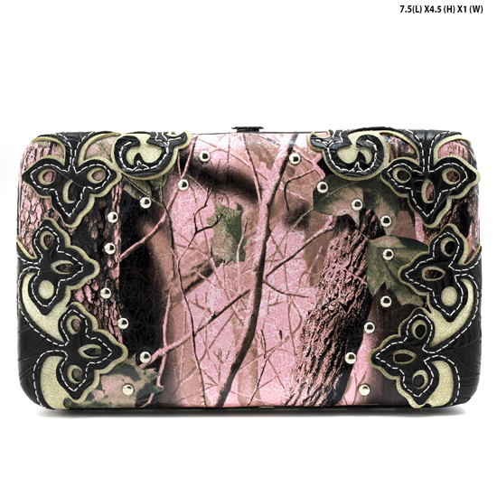 CAMO-PLAIN-W28-KW-305-PK-BLACK - WHOLESALE WOMENS WESTERN CAMO WALLET