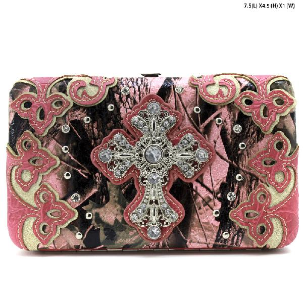 CAMO-CROSS-W28-KW-305-PK-PINK - WHOLESALE WOMENS WESTERN CAMO CROSS WALLET