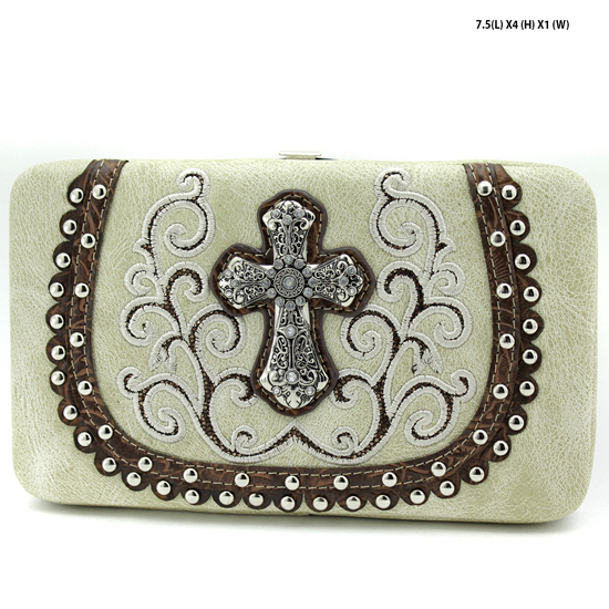 2070-67-LCR-BEIGE - WHOLESALE HARD FRAME CROSS WESTERN WALLETS