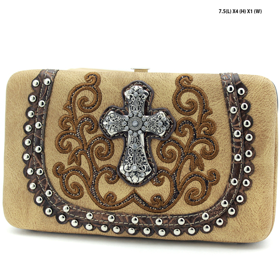2070-67-LCR-TAN - WHOLESALE HARD FRAME CROSS WESTERN WALLETS