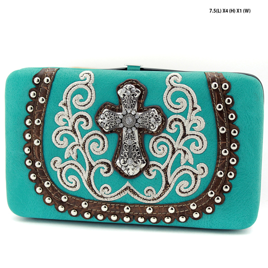 2070-67-LCR-TURQ - WHOLESALE HARD FRAME CROSS WESTERN WALLETS