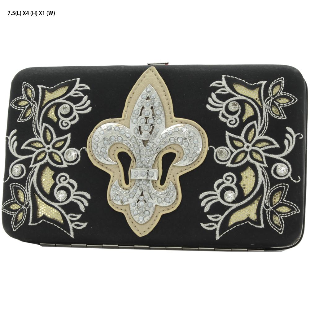 FL-2070-W84B-BK-CMP - FL-2070-W84B-BK-CMP Wholesale Top Frame Fleur De Lis Design Women's Wallets