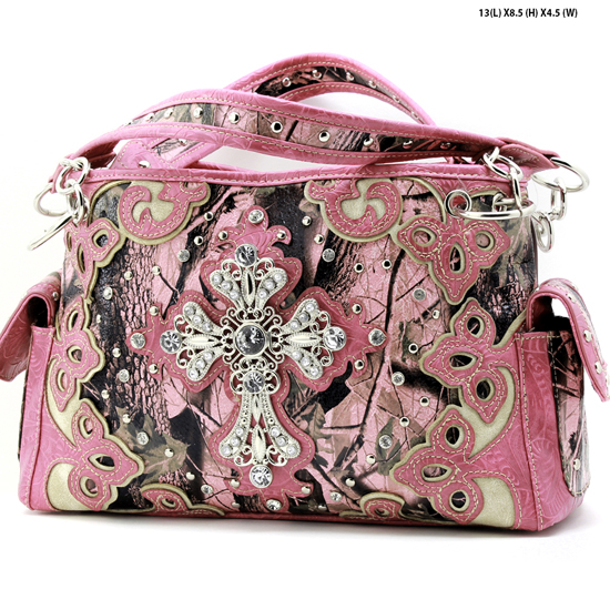 CAMO-CROSS-W28-KW-133-PK-PINK - WHOLESALE CAMO CROSS CONCEALED WEAPON PURSES HANDBAGS