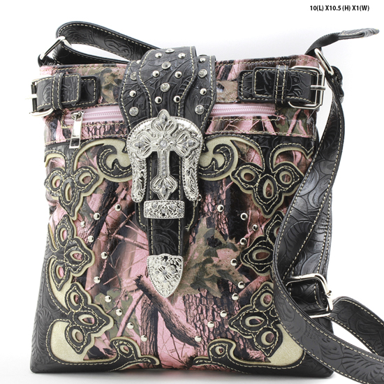 BHW-BKLE-W28-KW-604-PK-BLACK - WESTERN CAMO CONCEALED WEAPON MESSENGER HANDBAGS