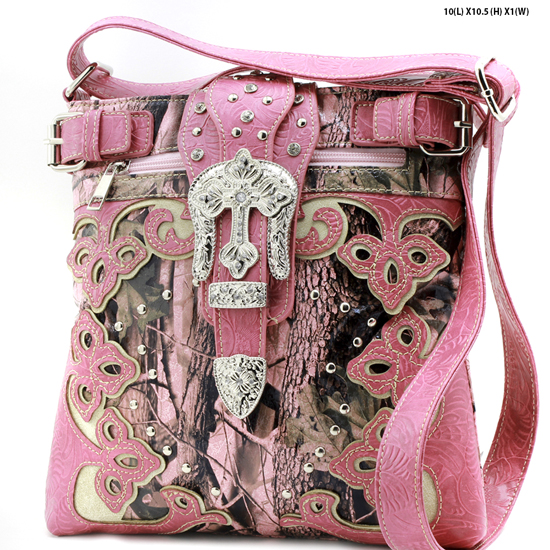 CAMO-BKLE-W28-KW-604-PK-PINK - WESTERN CAMO CONCEALED WEAPON MESSENGER HANDBAGS