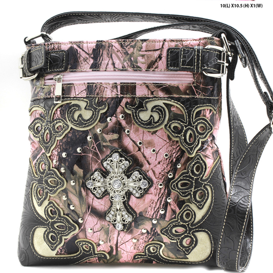 BHW-CROSS-W28-KW-604-PK-BLACK - BHW-CROSS-W28-KW-604-PK-BLACK WESTERN CAMO CONCEALED WEAPON MESSENGER HANDBAGS