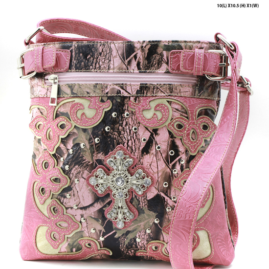 CAMO-CROSS-W28-KW-604-PK-PINK - WESTERN CAMO CONCEALED WEAPON MESSENGER HANDBAGS