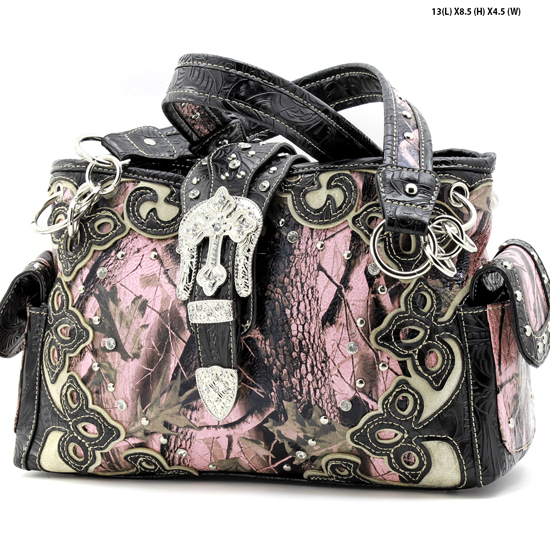 BHW-BKLE-W28-KW-135-PK-BLACK - BHW-BKLE-W28-KW-135-PK-BLACK WHOLESALE CAMO WWESTERN BUCKLE CONCEALED WEAPON PURSES HANDBAGS