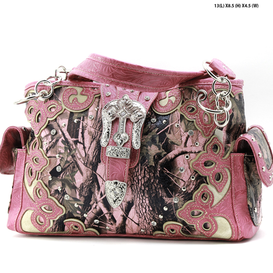 CAMO-BKLE-W28-KW-135-PK-PINK - WHOLESALE CAMO WWESTERN BUCKLE CONCEALED WEAPON PURSES HANDBAGS