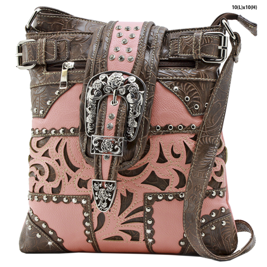 BKLE-604-W77-PEACH - WESTERN RHINESTONE BUCKLE MESSENGER BAG HIPSTER CONCEALED WEAPON PURSE