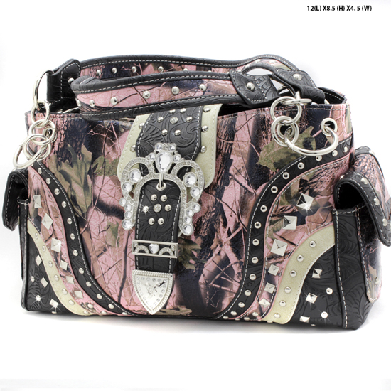 CAMO-939-W22KW-BLACK - WHOLESALE WESTERN RHINESTONE CROSS CAMO HANDBAGS