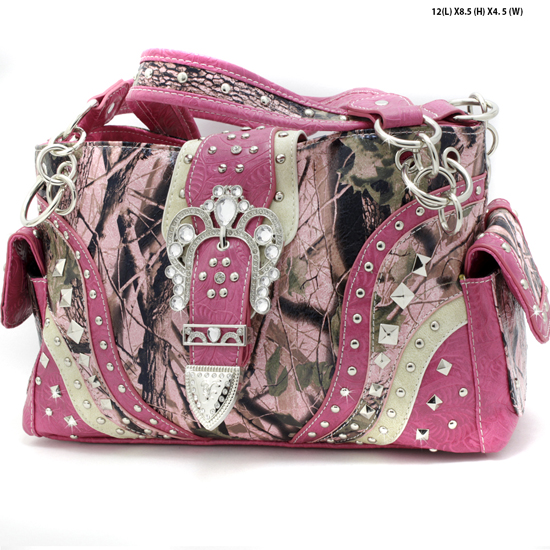 CAMO-939-W22KW-PINK - WHOLESALE WESTERN RHINESTONE CROSS CAMO HANDBAGS