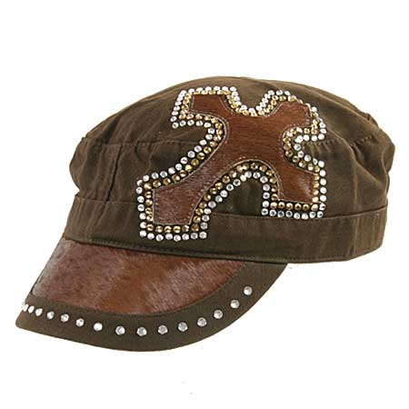 HDCD-126--BRN - WHOLESALE RHINESTONE CAPS/HAIR ON HIDE CAPS