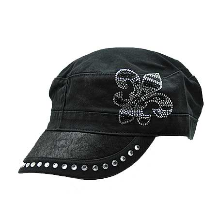 HDCD-FL/ZEBRA-BK/BK - WHOLESALE RHINESTONE HAIR ON HIDE CAPS