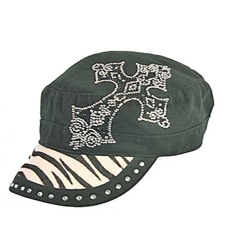 HDCD-082-ZEBRA - WHOLESALE RHINESTONE CAPS/HAIR ON HIDE CAPS