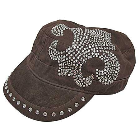 HDCD-112-BROWN - WHOLESALE RHINESTONE CAPS/HAIR ON HIDE CAPS