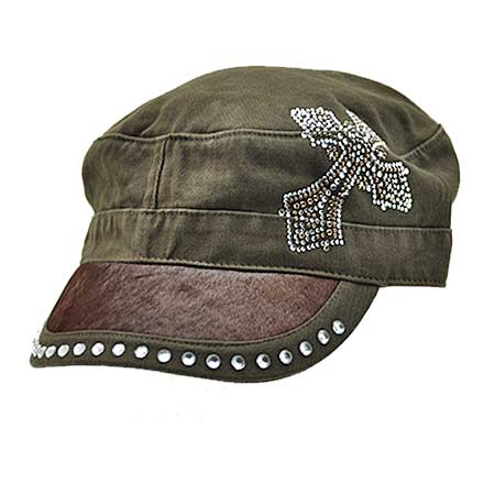 HDCD-35-BROWN - WHOLESALE RHINESTONE HAIR ON HIDE CAPS