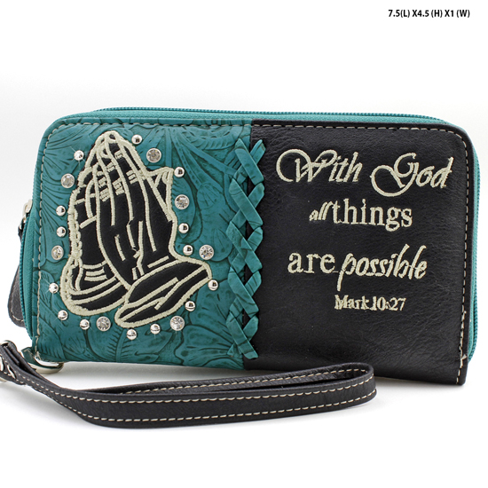 HP-245-BLACK - WHOLESALE WOMENS WESTERN BUCKLE WALLET