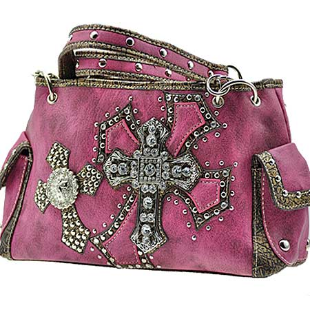 MB-893-HTPK - WHOLESALE RHINESTONE CROSS HANDBAGS