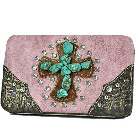 BTQ/38-PINK - WHOLESALE FLAT WALLETS/WESTERN CROSS WALLETS