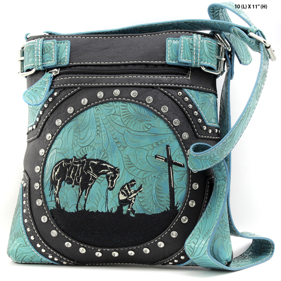 MR-938-BLACK - WESTERN RHINESTONE PRAYING COWBOY CONCEALED WEAPON HIPSTER MESSENGER BAG