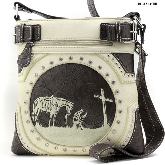 MR-938-BONE - WESTERN RHINESTONE PRAYING COWBOY CONCEALED WEAPON HIPSTER MESSENGER BAG