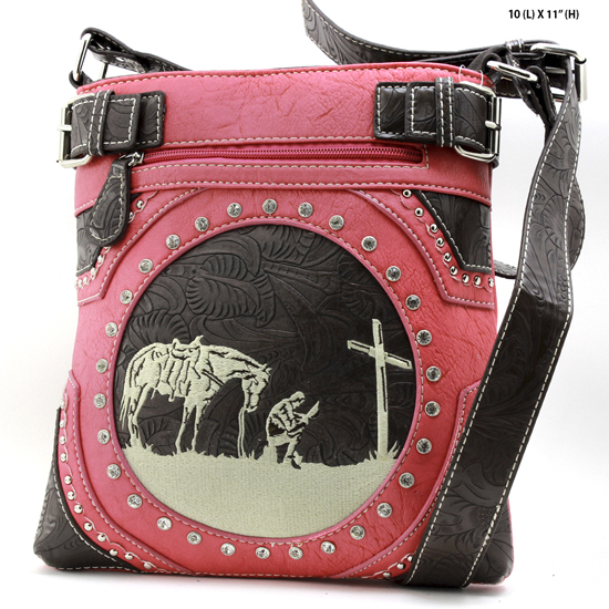 MR-938-PINK - WESTERN RHINESTONE PRAYING COWBOY CONCEALED WEAPON HIPSTER MESSENGER BAG
