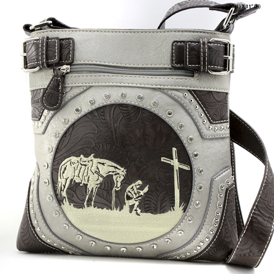 MR-938-PEWTER - WESTERN RHINESTONE PRAYING COWBOY CONCEALED WEAPON HIPSTER MESSENGER BAG