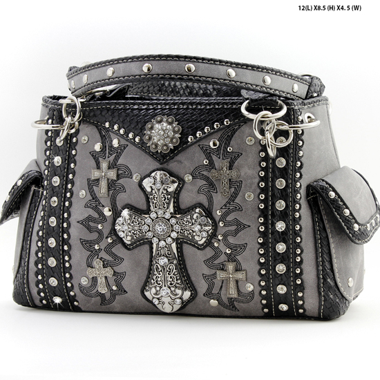 MT-893-PEWTER - WHOLESALE WESTERN BUCKLE PURSES
