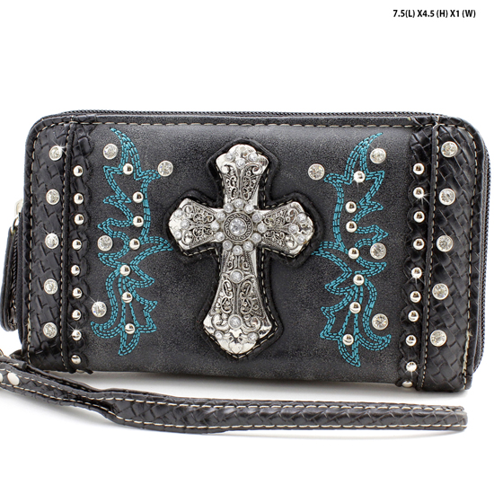 MT-245-BLACK - WHOLESALE WOMENS WESTERN BUCKLE WALLET