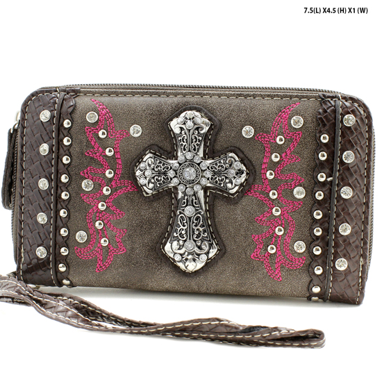 MT-245-BROWN - WHOLESALE WOMENS WESTERN BUCKLE WALLET