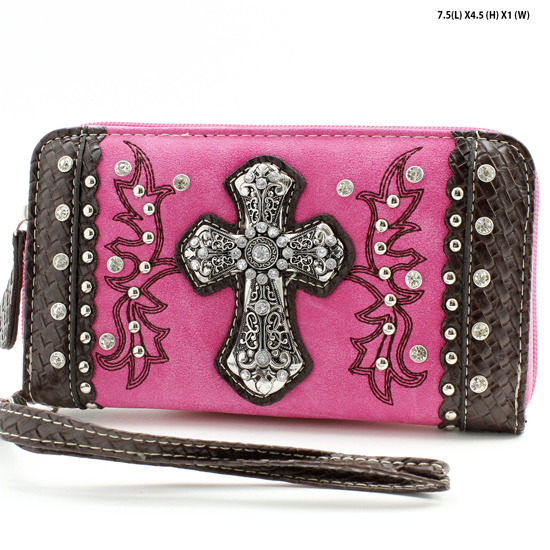 MT-245-PINK - WHOLESALE WOMENS WESTERN BUCKLE WALLET