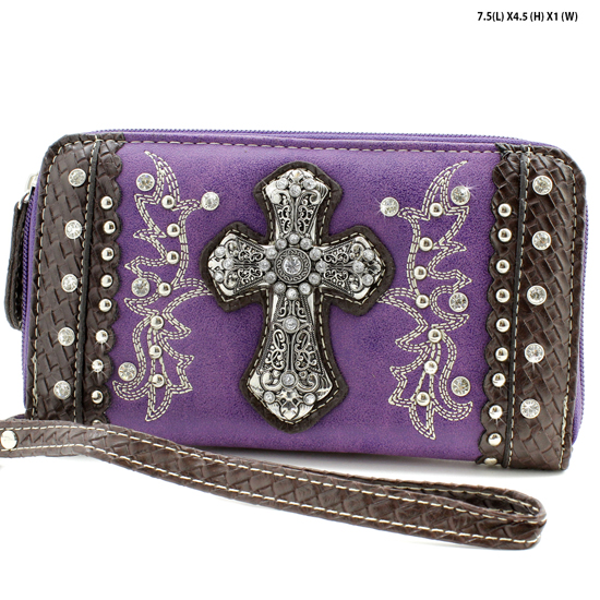 MT-245-PURPLE - WHOLESALE WOMENS WESTERN BUCKLE WALLET
