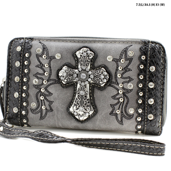 MT-245-PEWTER - WHOLESALE WOMENS WESTERN BUCKLE WALLET