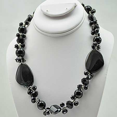 NKL-10-BLACK - WHOLESALE GENUINE CRYSTAL AND GLASS NECKLACE