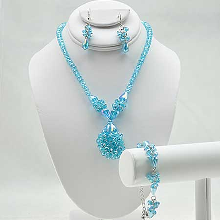 NKL-16-TURQ (SET OF 3) - WHOLESALE GENUINE CRYSTAL AND GLASS NECKLACE SET