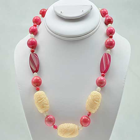 NKL-22-PINK - WHOLESALE GENUINE CRYSTAL AND GLASS NECKLACE