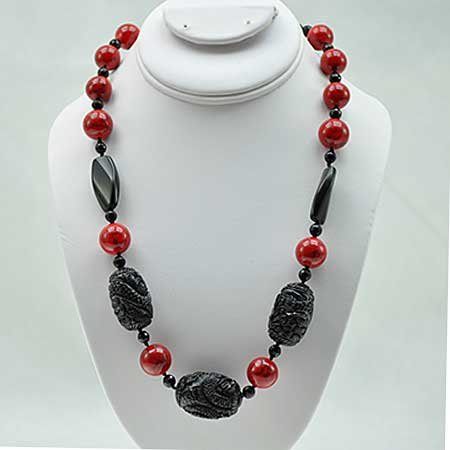 NKL-22-RD/BLACK - WHOLESALE GENUINE CRYSTAL AND GLASS NECKLACE